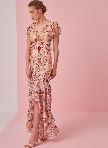 morhipo x dcey Fırfırlı Çiçek Desenli Elbise Pembe